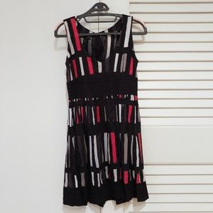 Mango black and red patterned dress